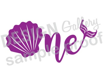 One - Mermaid style image - First Birthday - JPG, png & SVG, DXF cut file, Printable Digital, seashell, fin, Mermaid Life - Instant Download