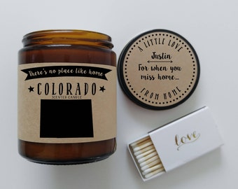Colorado Scented Candle Missing Home Homesick Gift Moving Gift New Home No Place Like Home State Candle Miss You Christmas Gift