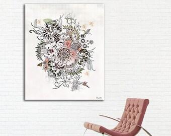 Modern Mandala - Large Canvas Art Print, Abstract Painting, Giclee Print, Living Room Art, Black ink