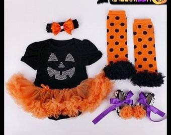 Baby Girl Halloween Outfit~Pumpkin Ruffle Dress~Onesie Tutu Set~3M-6M~Costume Set~Infant~