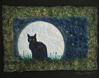 SALE,Black Cat,Full Moon,Wiccan Art,Pagan art,Cat portrait,Paper Mache,recycled materials,Familiar,Flame Bilyue,fantasy landscape