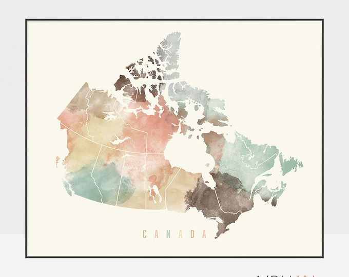 Canada map, Canada map poster, print, Travel wall art, Canada map pastel, Office decor, Housewarming gift, Home decor, ArtPrintsVicky