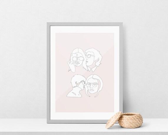 Single Line Art Print : Faces printable one line drawing print pink artwork