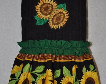 """Embroidered Dish Towel  """"Sassy Sunflowers"""""""