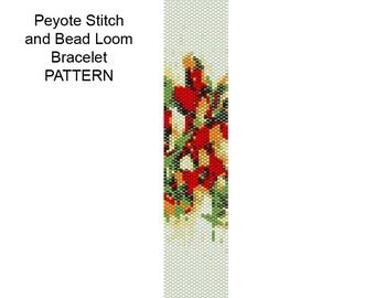 Beadweaving Bracelet Pattern - Peyote and Loom Patterns - Bouquet Bracelet Pattern