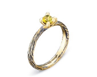 Yellow Tourmaline Silver Ring - Rough Herb, Stackable Ring, Tourmaline Jewelry, Tourmaline Rings, Tourmaline Silver Ring, 925 Silver Ring
