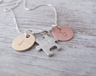 Autism Jewelry, Awareness, Autism Mom Necklace, Multiple Kids, Initial Jewelry, Mixed Metals, Hand Stamped