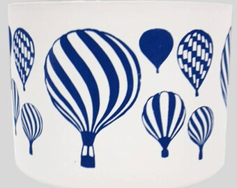 Hot Air Balloons Lampshade in navy - Hand Screen Print