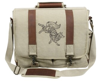 Baroque Wolf Embroidered Canvas with Leather Accents Premium Laptop Bag