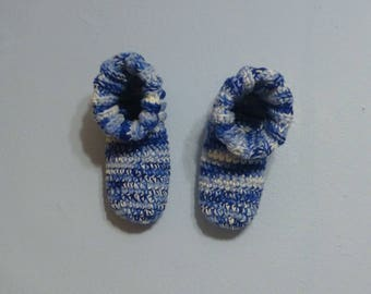 Crochet Slipper Bed Socks Booties Mixed Blues and White Size 9 10