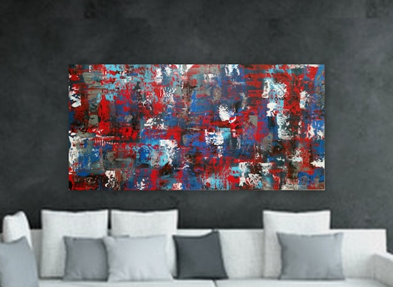 "24"" x 48"" ""Red Roses"" Large navy blue white light blue red black original abstract modern painting  gallery wrapped large abstract painting"