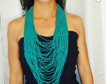bead necklace, tribal neklace, statement necklace, seed bead necklace, festival necklace, long neckalce