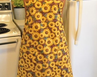 Women's Old Fashioned Grandma Style Sunflower Apron