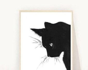 Cat Print, Black Cat, Printable Art, Cat Art, Art Print, Wall Decor, Wall Art, Instant Download