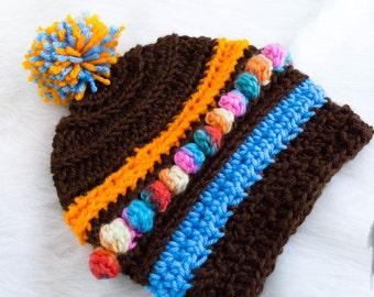 Handmade Unique Toddler Hat - Orange and Blue - Rainbow Hat - Toddler Beanie - Kids Hat - Child Hat - Unique Hat - Rainbow Hat - Slouchy