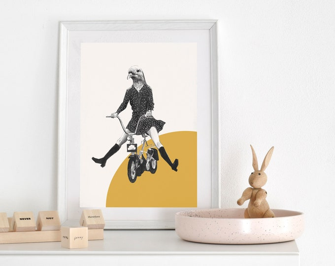 Pigeon on Bicycle Print, Love Print for Nursery, Bedroom, Art for Walls, Home Decor Poster, Housewarming Retro Art Animal Head Bike Lover