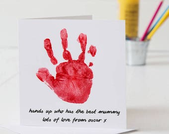 Personalised Hand Print Mother's Day Card