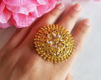 Large Round Gold Ring Border - Bridesmaids Gift for Indian Wedding, Wedding Jewelry, Indian Jewelry, Round Ring, Ring for Girlfriend, Polki