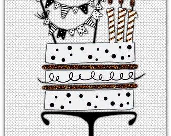 Celebration Cake hand made birthday card - 12.5cm x 17.5cm (5'' x 7'') with envelope.