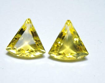 2 Pcs Very Beautiful Yellow Quartz Faceted Fancy Shaped Loose Gemstone Size 16X16 MM