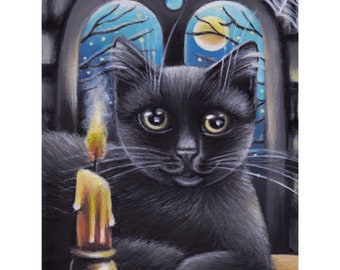 Black Cat Kitten Halloween Acrylic Original Painting 5x7