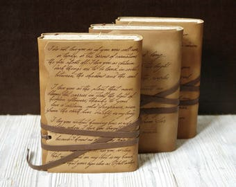 custom leather journal, personalized text script notebook, vintage style diary in brown cover and old aged paper