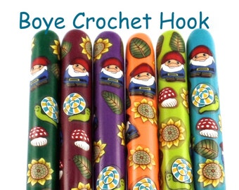 Crochet Hook, Boye Polymer Clay Covered Crochet Hooks, Crochet Hook Sizes B- N, Gnome, Snails, Woodland