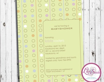 Dots galore gender neutral baby shower invitation - DIY - PRINT YOURSELF or purchase prints