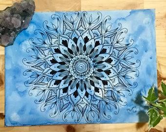Blue Watercolor Mandala Painting
