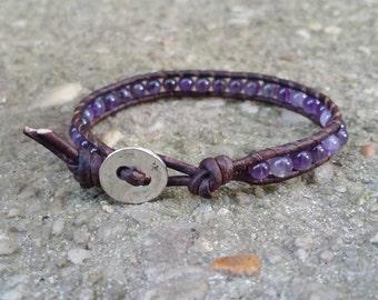 LATE SHIP amethyst leather wrap bracelet beaded boho bracelet chakra earthy leather gemstone beads tree of life butto
