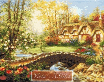 Magical home sweet home - cottage counted cross stitch kit, landscape cross stitch kit