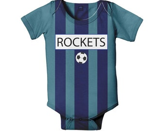 Baby Soccer Jersey Bodysuit, Personalized Sport One Piece, Any Team Name and Colors, Onepiece Baby Clothing