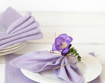 Lavender linen napkins set of 6 -  Purple napkin cloths - Easter napkins - Lilac napkins - Wedding napkins