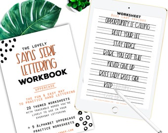 30 Practice Worksheets Sans Serif Lettering for Procreate & Print, Calligraphy, Hand Lettering, IPad Lettering -For beginners,planners...