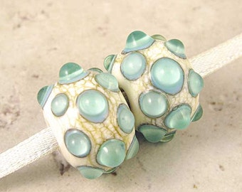 Lampwork Glass Bead Pair in Cream White with Blue Green Raised Dots Small 13x10mm Retro Sky Dewdrops