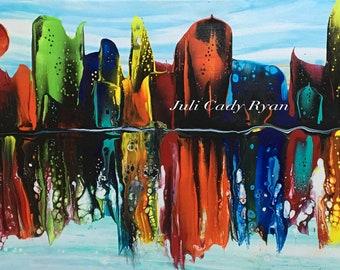"Chromatic City Original Fluid Acrylic 12"" x 24"" on Stretched Canvas"