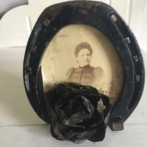 Retrato victoriano antiguo cuadro marco recuerdo hecho a mano forja ...