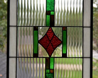 Stained glass panel 17 x 13 diamond center red, green, white