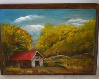 Autumn Barn Scene Painting on Wood Rustic Wall Art Fall Foliage Free Shipping 8.5 x 11.5