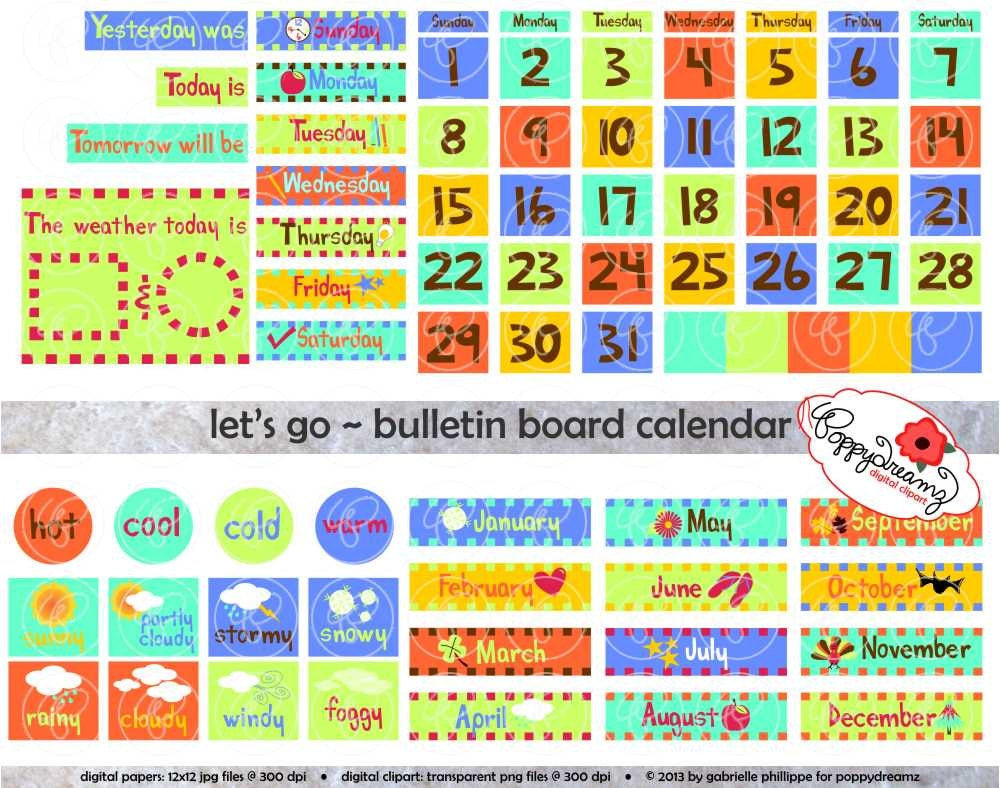 weather chart combined with calendar chart: Let s go bulletin board calendar clipart set 300 dpi