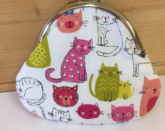 Cat coin purse kitty cat gift metal clasp purse