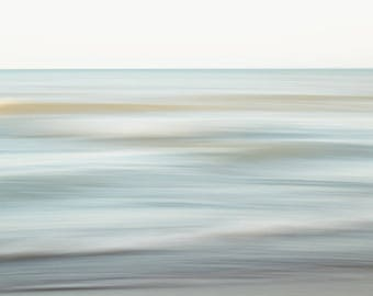Peaceful modern water landscape print. Soothing abstract beach photograph. Large wave photo for coastal home spa. Relaxing gift for wife.