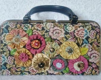 Vintage Handbag, Pretty, Floral Vintage Tapestry Fabric, Newly Embellished, Handbag
