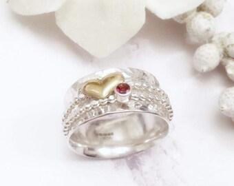 Heart spinner ring, garnet spinner ring, silver ring, heart worry ring, red garnet jewelry, red garnet ring, heart fidget ring