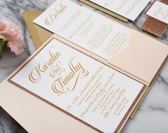 Glitter Wedding Invitations, rose gold wedding invitations, copper wedding invitations, glitter pocketfold invitations, Karalin