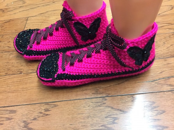 shoes shoes 9 Crocheted butterfly sneakers crochet shoes Womens slippers pink sneaker tennis slippers tennis 403 crocheted slippers house 7 A5wxCqf5