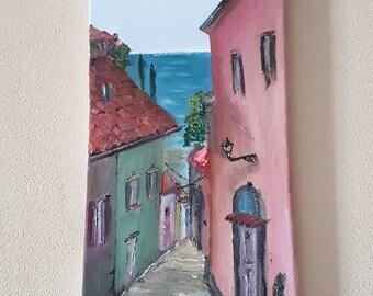 Oilpaintings Old Mediterranean street, Istria, Croatia, Streets Oldstreets