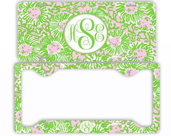 Green Pink Kitties Monogram License Plate Front Car Tag Frame Personalized Set Custom Initials Coasters