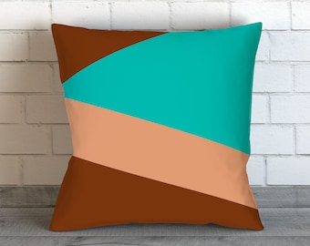 Brown Pillow Covers, Decorative Pillow Cover, Teal Throw Pillow Cover, Brown Pillows, Blue Toss Pillow, Brown Accent Pillow, Blue Bedding
