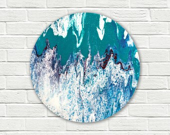 Round painting, original abstract painting on canvas, small wall art, small painting, Abstract Wall Art, fluid painting, round canvas art